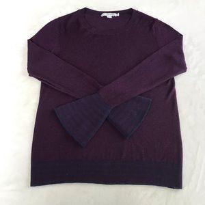 Boden Jasmine Striped Hem Sleeve Wool Sweater, 6